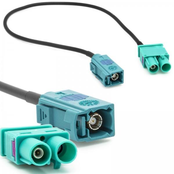Radio Antennen Adapter FAKRA (Z) Buchse auf Doppel FAKRA Stecker Kabel für VW Audi Seat