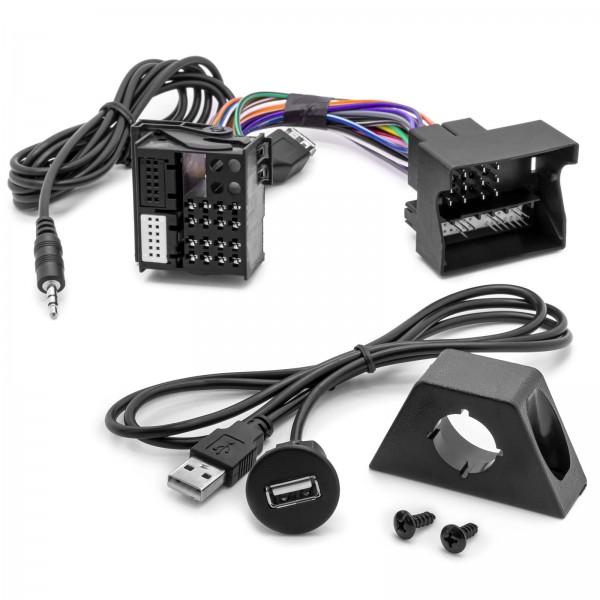 USB AUX In Adapter 3,5mm Klinke MMT Radio Einbau Buchse Kabel Set für MAN TGX TGS