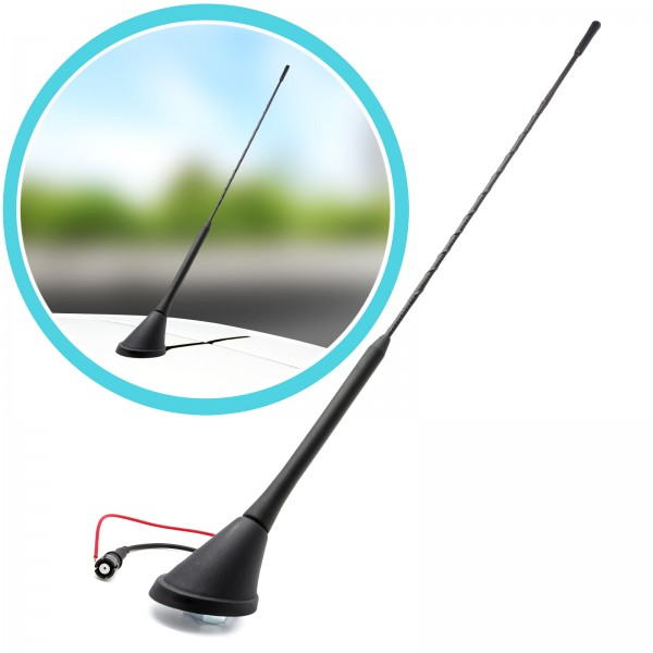 Set 41cm KFZ Stabantenne Dachantenne + Auto Antennenfuß Sockel Universal