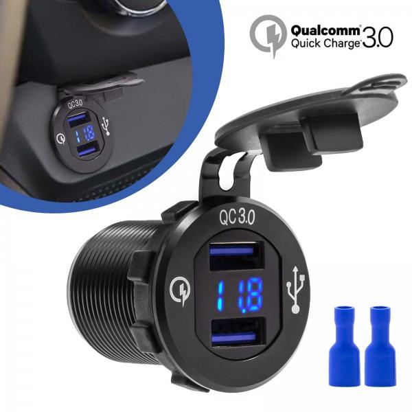 12V QC 3.0 Dual USB Auto Zigarettenanzünder Steckdose Einbau Ladegerät Adapter