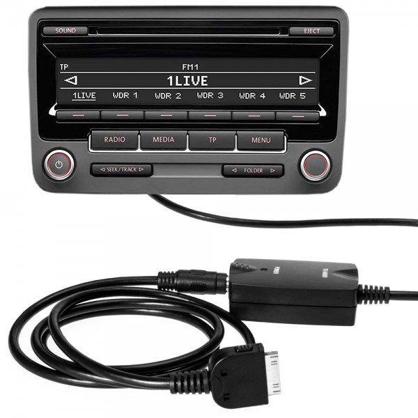 AUX Adapter Interface 12pol für VW Audi RCD 200 210 300 310 500 DMC iPhone iPod