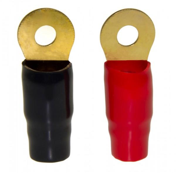 2 x Ring Terminal Kabelschuh Elektro rot schwarz lötlos Set für 0AWG Gauge Kabel
