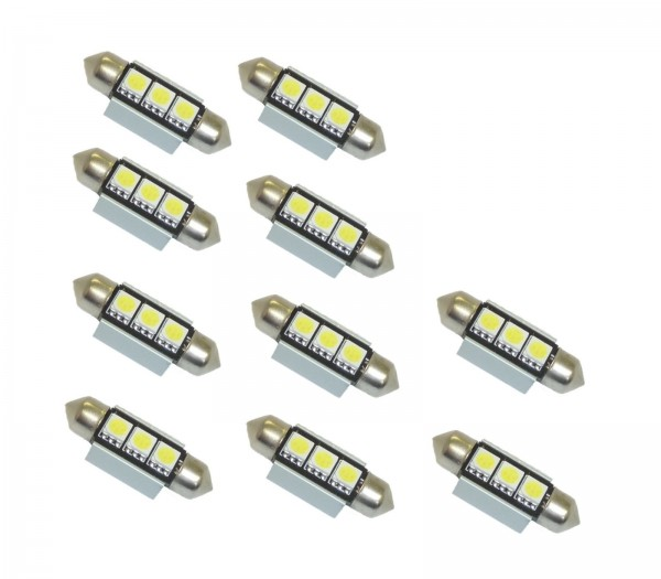 10 x LED Soffitte CANBUS 36mm 3 x 5050 SMD XENON c5w weiß Innenraum Beleuchtung