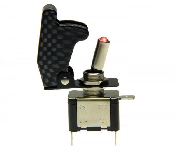 Kill Switch Carbon Auto KFZ Fahrzeug Kippschalter 12V Schalter LED 20A Rot NOS