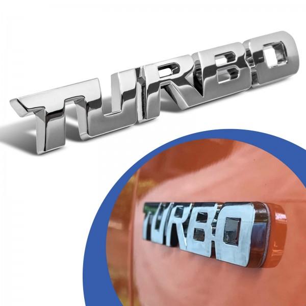 Turbo Emblem Zeichen Chrom Schriftzug 3D Logo Auto Aufkleber Tuning Sticker Metall