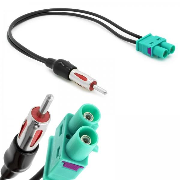 Auto Radio Doppel Fakra Antennen Adapter auf DIN ISO Stecker Audi VW Seat Volvo